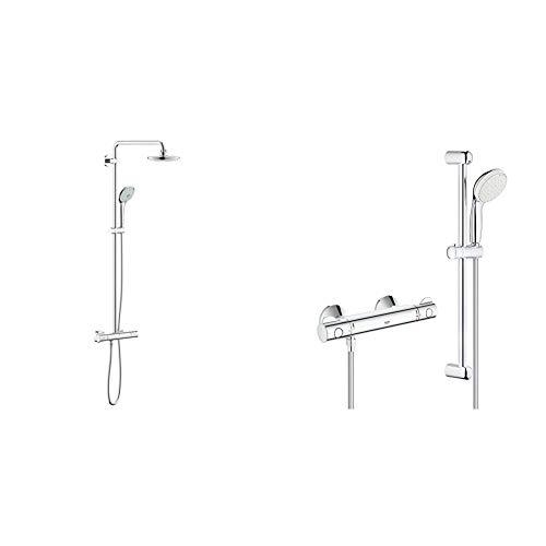 """Grohe 27296001 Euphoria 180 - Sistema de ducha con termostato, alcachofa de 180mm y teleducha tres chorros de 110mm + Grohtherm 800 - Conjunto de ducha con termostato de ducha 1/2"""" (Ref. 34565001)"""