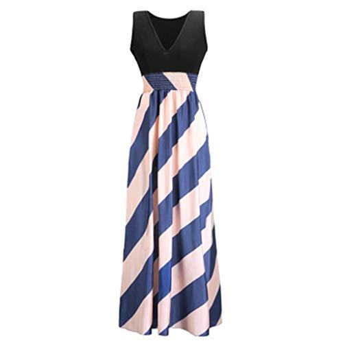 Vestido de cóctel de noche para mujer, estilo europeo y americano, con costuras de rayas y trapeador de gasa, cintura alta, vestido de playa, ocio, vacaciones, A, Medium
