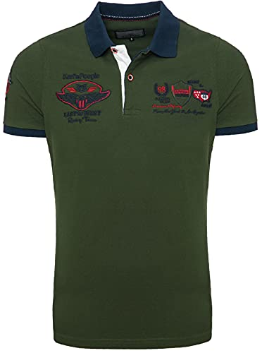 Karl's People Kurzarm Poloshirt für Herren XXL, Khaki 100% Baumwolle by Carisma • Herren Polo Shirt mit Stickerei • Angenehmes Regular Fit Shirt für Büro und Freizeit
