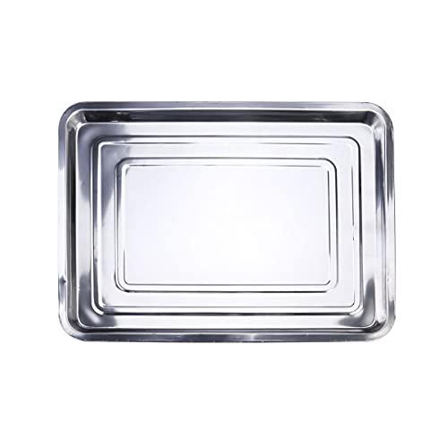 YARNOW Baking Sheet Pans Stainless Steel Dinner Tray Metal Dinner Dish Kids Plates Square Rectangular Cake Pan Barbecue Tableware for Fish Fruit Cookie