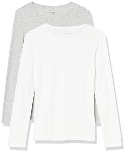 Amazon Essentials Women's 2-Pack Slim-Fit Long-Sleeve Crewneck T-Shirt, White/Light Grey Heather, Large
