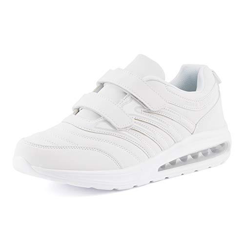 Fusskleidung Damen Herren Sportschuhe Klettverschluss Sneaker Dämpfung Neon Laufschuhe Runners Gym Unisex Weiß EU 44