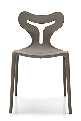 Calligaris AREA51 Lot de 4 chaises empilables pour usage extérieur – Structure pp Taupe Mat P900