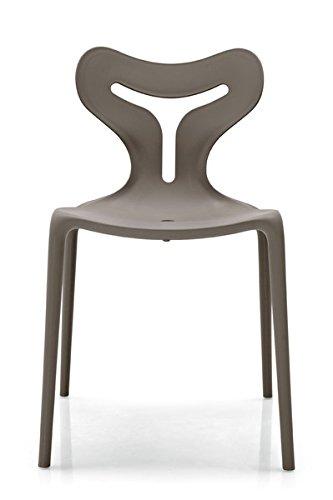Calligaris Lot DE 4 chaises empilable Area51 également pour Usage extérieur – Structure PP Taupe Mat P900