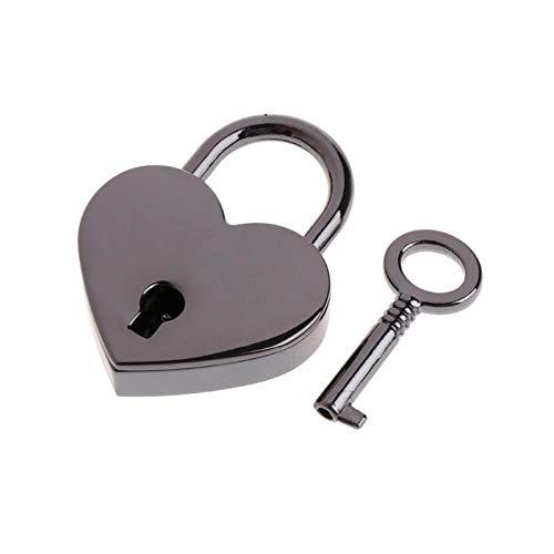 Veiligheidsslot in hartvorm vintage antieke stijl mini archaize hangslot slot met sleutel Blanco Y Gris