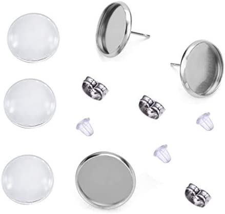 30 pcs 8mm Glue Pad Setting Silver Tone 304 Stainless Steel Earring Posts Studs Settings Bezels Cabochons Tacks