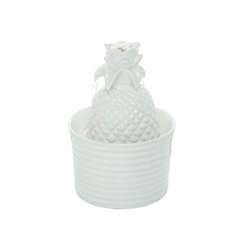 Foreside Home and Garden Pineapple Indoor Water Fountain with Pump, White
