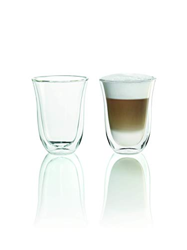 De'Longhi Juego de 2 vasos premium para café latte macchiato, apto para lavavajillas, pared doble vidrio templado,...