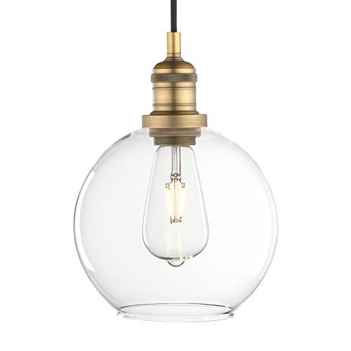 Phansthy - Colgante vintage industrial retro de 20 cm, con pantalla de cristal claro, lámpara para Loft cocina, café, bar E27 (antiguo)