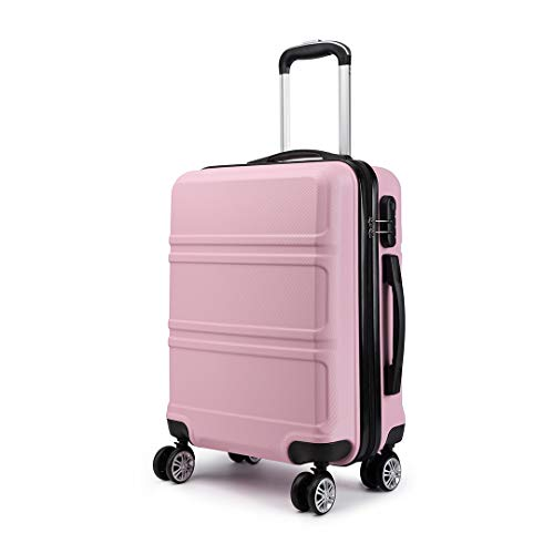 Kono 20 inch Cabin Suitcase Lightweight ABS Carry-on Hand Luggage 4 Spinner Wheels Trolley Case 55x40x22 cm(Pink)