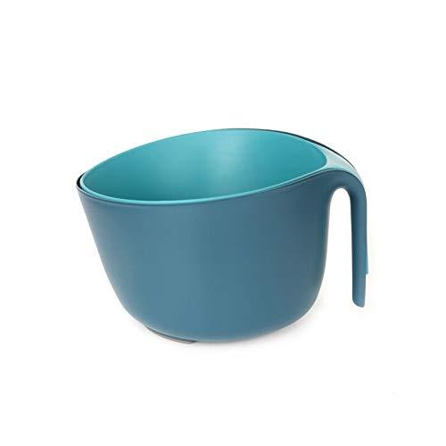 Sieb und Rührschüssel Set Kunststoff Seiher und Schüsseln Plastik Salatseiher Küchensieb Nudelsieb Salatschüssel Stapelbar Küchen Schüssel-set, 2-teilig