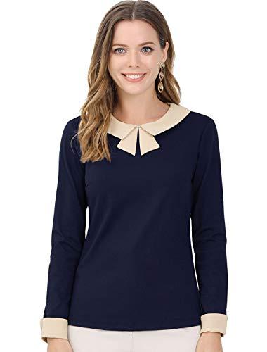 Allegra K Blusa De Oficina Trabajo Mangas Largas Collar Elegante Top para Mujeres Azul Marino XL
