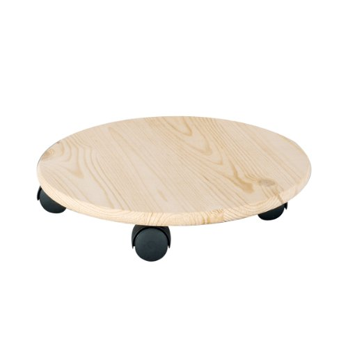 Zeller 13555 - Peana con ruedas para macetas, madera de pino (diámetro 35 cm, resistencia: 100 kg)