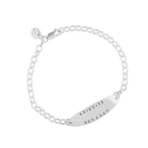 Pulsera de plata esterlina Molly personalizada con tu nombre en tres posiciones diferentes para hombre.