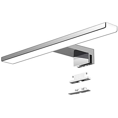 Aogled Lámpara de Espejo Baño 40 cm 10W 820LM 230V Blanco Frío 6000K,IP44 Clase II Lámpara de Espejo de baño Delgada,Abrazadera en el Espejo/Gabinete/Iluminación de Pared 400 mm