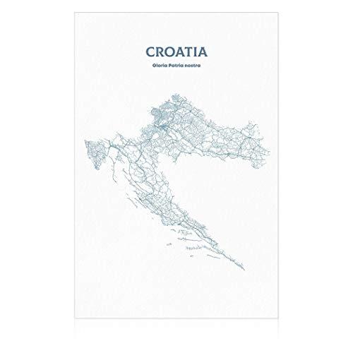 SpringFlower Muursticker Kroatië Kaart Premium Art Print Decoratie Poster Ontwerp Moderne Mural Muur Aangepast Product voor Woonkamer, Slaapkamer, Office Wall Art Kleefmateriaal