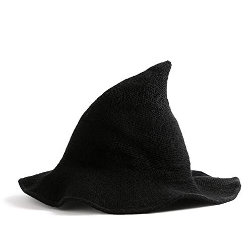 Halloween Witch Hat Women Black Cute Knitted Costume Wool Cosplay Party Girl Wide Brim Foldable Pointed Daily Accessory (Black)