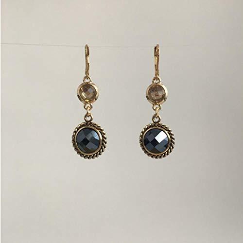 Empty modesieraad kleur goud met oorbellen van zwarte steen voor dames meisjes