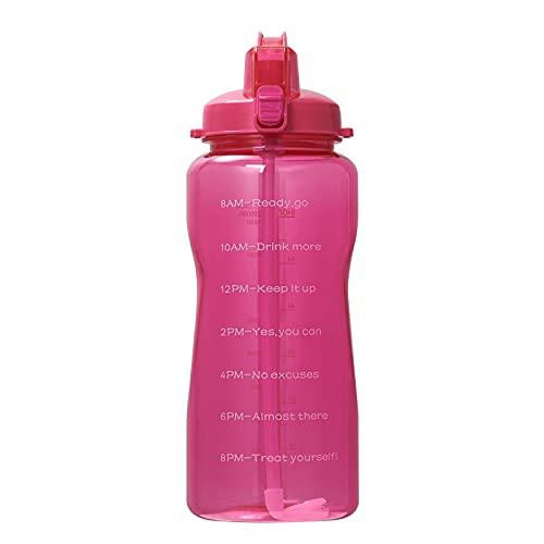 QAZW Botella de Agua de 2 litros con Pajita y Marcas de Tiempo - Jarra Sin BPA - Botellas Deportivas Extragrandes y Duraderas con Tapa Abatible - Ideal para Gimnasio,Red-2L