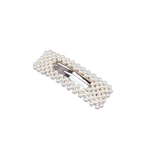 PULABO Versilberte Perlen-Haarspange für Mädchen und Frauen, quadratische Haarspange, Haarschleife, Haarnadel, Haaraccessoire für Damen, Geburtstagsgeschenk,...