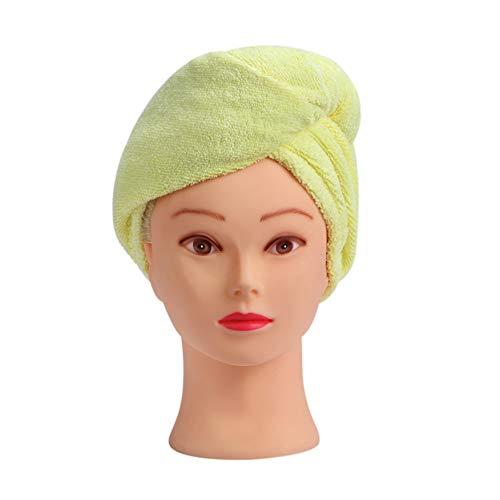 Micro Fibra Cabello de secado de toallas de mano del paquete Twist Super absorbente turbante Cabello Seco Toalla Cabello Seco Caps, rápidos, amarillo, 56cm * 24cm