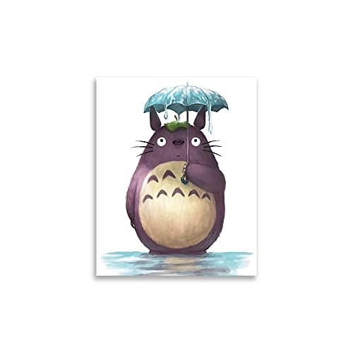 STTYE My Neighbor Totoro Dibujos Animados Ilustración Moda Mujeres Lienzo Arte de Pared Mujer Baño Dormitorio Vestidor Pared Decoración del Hogar Sin Marco 12x18 pulgadas