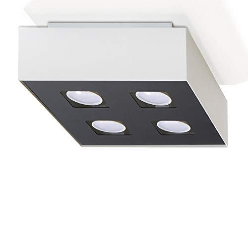 Plafonnier Mono 4-flammig Plafonnier Noir-Blanc 43x43cm Lampe de Salon Lampe Moderne Eclairage Intérieur + 4x 7W Ampoule LED