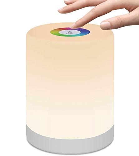 LedGalactic - Lámpara de Mesa portatil, Lámpara de Mesita de noche, Luz Nocturna LED, para Niños, Infantil, de mesilla, Tactil Control, Colores Cambiable RGB, Recargable USB, Lámpara Habitacion