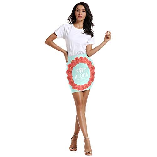 FANTAZIO Hawaiian Aloha slinger ontwerp vrouwen boven de knie elastische taille stretch Bodycon rok