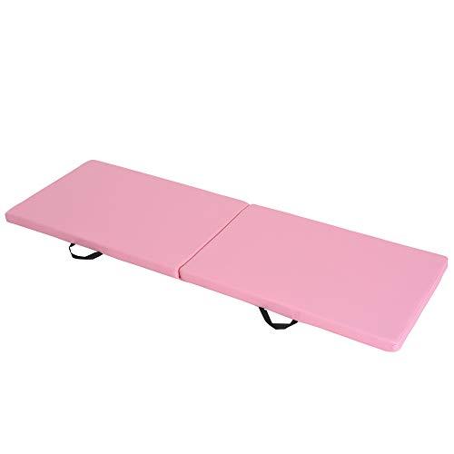 HOMCOM Tapis de Gymnastique Yoga Pilates Fitness Pliable Portable Grand Confort 180L x 60l x 5H cm revêtement synthétique Rose