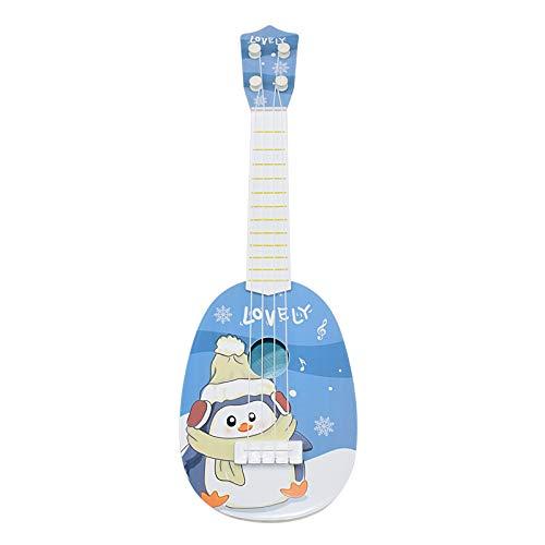 ギター 子供用 おもちゃ ウクレレ こども用 4弦 初心者 楽器玩具 知育玩具 かわいい ミニギター 18カラー (北ペンギン)