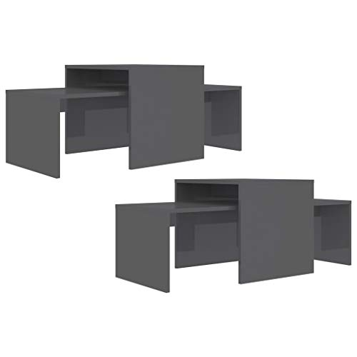 pedkit Coffee Table Set, Side Tea Tables Morden Couch Table for Living Room, Nesting Table High Gloss Grey 100x48x40 cm Chipboard