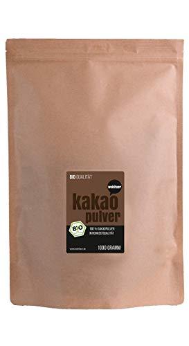 Kakaopulver Rohkost Bio - Von Wohltuer - Nicht geröstet - Kalt verarbeitet - Aus Kleinbauernkooperative (1000g)