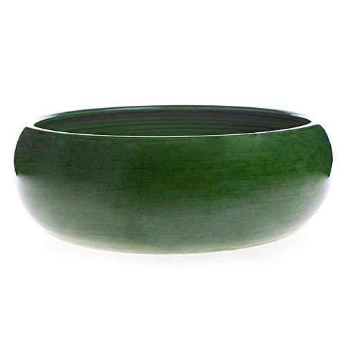 ALFAREROS DAMIAN CANOVAS Maceta de Barro esmaltada en Color Verde Modelo Pauly 25 cm de diametro 10 cm de Altura