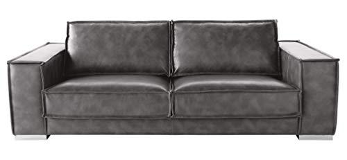 Sunpan Modern Baretto Leather Sofa, Grey