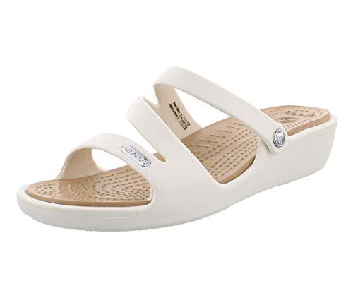Crocs Patricia Women, Sandalias de Punta Descubierta para Mujer, Blanco (Oyster/Gold 13s), 41/42 EU