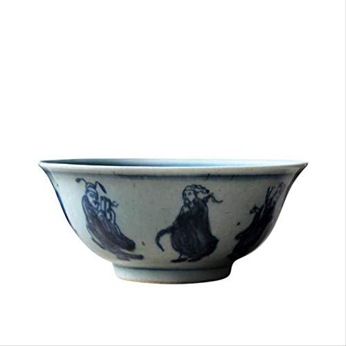GJDBBLY Bol Jingdezhen Handmad Mano Pintada Azul Y Blanco Zen Ta Bowl Vintage Cerámica Ramen Bowls Recipiente De Frutas 12.6...