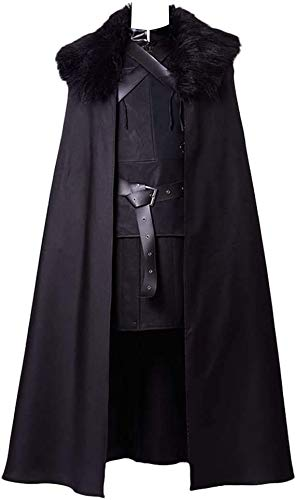 Generic Jon Snow Cosplay Disfraz de caballero Cosplay Cosplay Disfraz Halloween Sansa Disfraz Capa Disfraz Hombre Negro 4XL