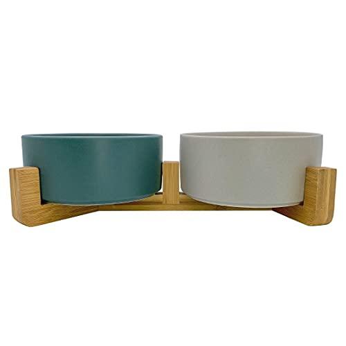 Mimi&Filou Keramiknapf Doppelnapf Futternapf aus Keramik mit Bambusgestell Hundenapf Katzennapf
