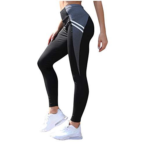 Las mujeres señoras de secado rápido Leggings de yoga de moda contraste negro Skinny Medias de longitud completa tejidas fitness pantalones estiramiento gimnasio Activewear
