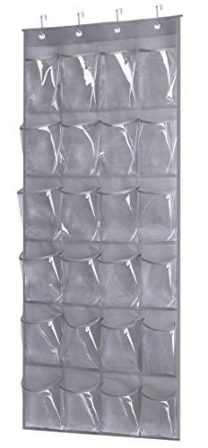 Kimbora Over the Door Shoe Rack with 24 Clear PVC Pockets Hanging Organizer for Closet Bathroom Kitchen Grey