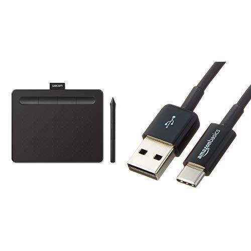 Amazon.co.jp限定 ワコム ペンタブレット ペンタブ Wacom Intuos Smallベーシック お絵かきソフトウェア付き ブラック データ TCTL4100 K0 + USBケーブルセット (0.9m タイプC - 2.0タイプAオス)