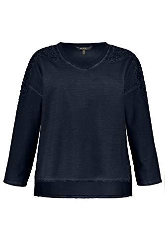 Ulla Popken Damen große Größen bis 64, Sweatshirt, Oil Dyed, Spitzen-Details, Bequem weit geschnitten, offenkantiger V-Ausschnitt, Marine 54/56 719867 70-54+