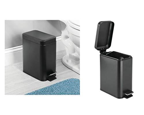 InterDesign Basic poubelle a pedale, poubelle à couvercle en plastique et métal pour la cuisine, le bureau ou la salle de bain, noir mat