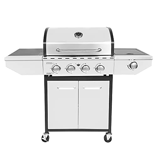 Honeydrill 4-Burner Propane Gas Grill with Side Burner, Stainless Steel, Cabinet for BBQ