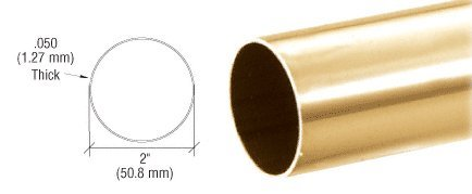 CRL 2' Polished Brass Round Tubing for Partition Posts and Sneeze Guards - 236 in Long