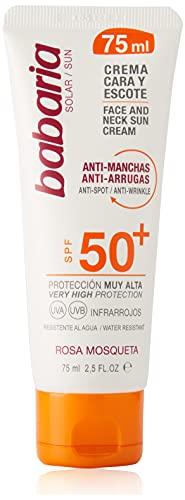 Babaria - Crema Facial Solar Antimanchas Rosa Mosqueta Spf50, Blanco