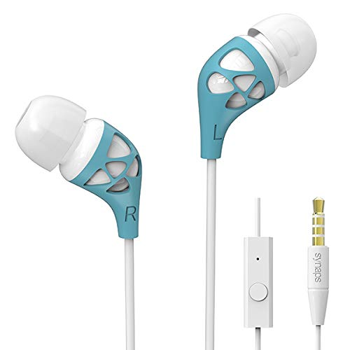 スポーツイヤホン 有線 HI-FI高音質 超軽量 高遮音性 携帯用マイクロホン インイヤーホンiPhone/iPad/Android Smartphoneなどに対応 青