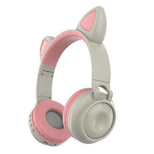 KKmoon ZW-028 Fone de ouvido sem fio Bluetooth Fone de ouvido de gato brilhante Fones de ouvido de música viva-voz com microfone Faixa de cabeça ajustável de luz colorida para desktop laptop Tablet P