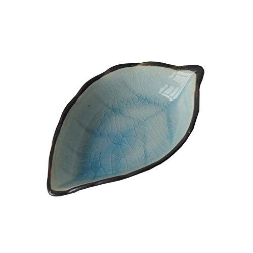 LIZANAN Cocina Plato de cerámica pequeña vajilla de cocina multifuncional Vinagre Plato del condimento del plato de cerámica creativa del plato Snack-placa de 4 piezas de la hoja superficial 11X7X3C v